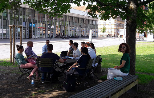 It is so hot…. the class takes place outside today