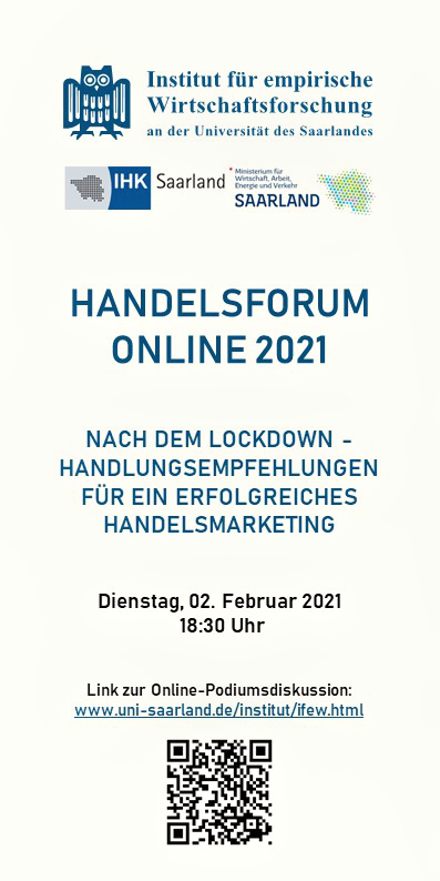 """Handelsforum online"" – Panel discussion: Tips for successful retail marketing after the lockdown."